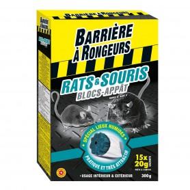 Rats et Souris - Blocs Appât 15 blocs 300g Barrière à rongeurs