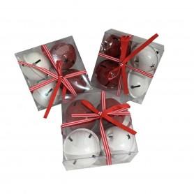 Lot de 6 grelots rouge et 6 grelots blanc 6cm