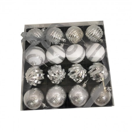 16 boules de Noël ton blanc