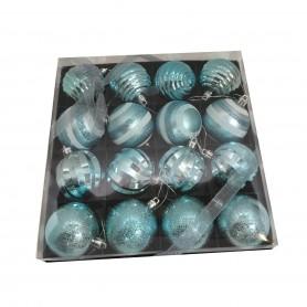 16 boules de Noël ton bleu
