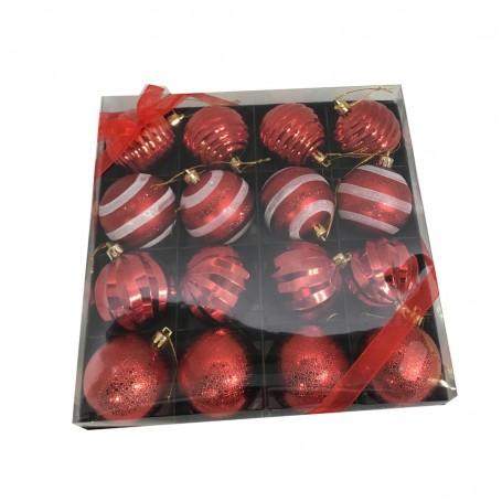 16 boules de Noël ton rouge