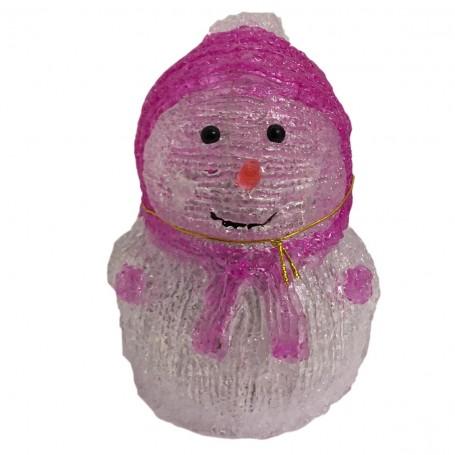 Bonhomme de neige 8 LED rose