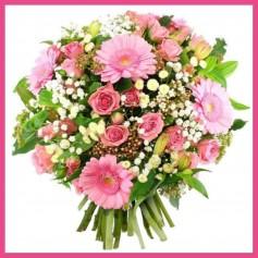 Bouquet Rond Mélangé Thème Rose