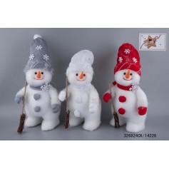 Bonhomme de neige à poser rouge/blanc/gris