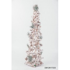 Sapin de Noël en bois gris pailleté LED 26.95€