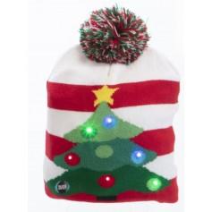 Bonnet En laine Blanc et rouge avec sapin de noël