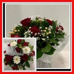 Bouquet Rond mélangé Thème Rouge
