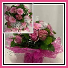 Bouquet Bulle Rond thème Rose Dégradé Fuchsia