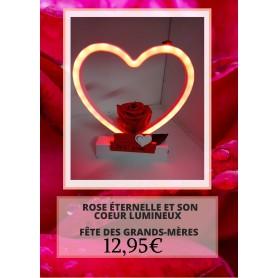 Rose éternelle sur son cœur lumineux