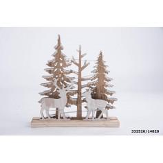 Ornement En bois avec LED 20x5x20.5cm