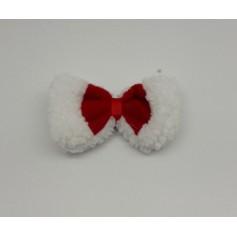 Nœud de Noël pour chien Rouge/Blanc 12x6x2cm